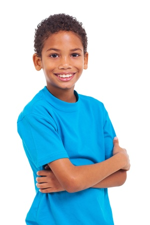 Photo pour portrait of african boy with arms crossed over white background - image libre de droit