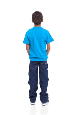 rear view of african american boy isolated on white background