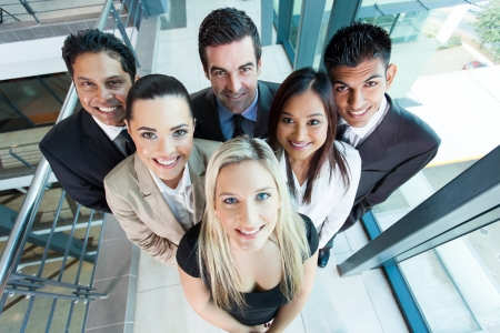 above view of group business team looking up