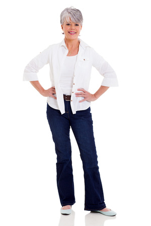beautiful middle aged woman in casual clothes isolated on white background