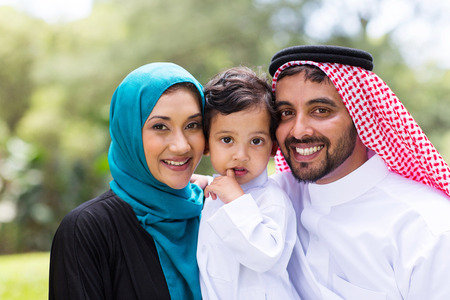 modern young Arabian family portrait outdoors