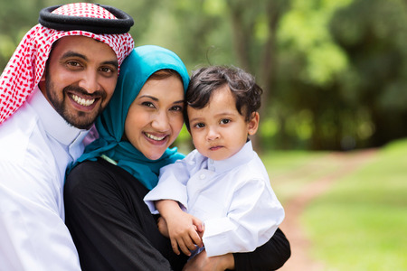 portrait of Arabic family at the park