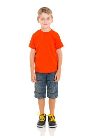 cute little boy standing on white background