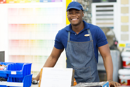 portrait of african american hardware store worker