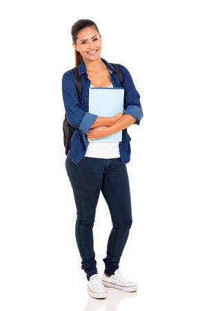 Photo pour happy female college student on white background - image libre de droit