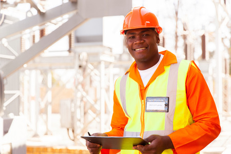 Photo for handsome male african electrical engineer in substation - Royalty Free Image