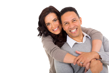 portrait of middle aged couple on white background