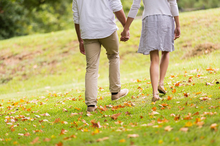 Photo pour back view of young couple holding hands walking in park - image libre de droit