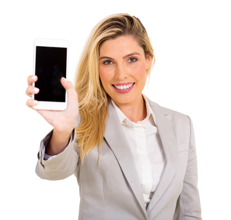 happy woman presenting smart phone over white background