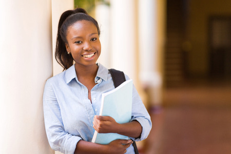 attractive african american female college student on campusの写真素材