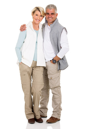 Photo for portrait of happy middle aged couple isolated on white - Royalty Free Image