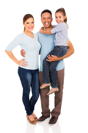 Photo pour portrait of happy family standing together isolated on white background - image libre de droit