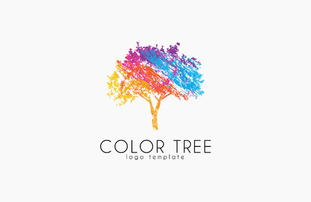 Ilustración de Tree logo. Creative logo. Nature logo. Color tree logo design. Colorful logo - Imagen libre de derechos