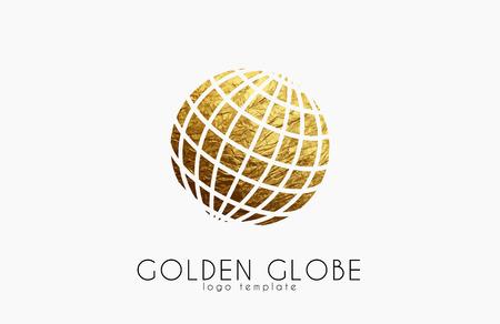 Ilustración de Globe sign. Golden globe logo. Creative logo - Imagen libre de derechos