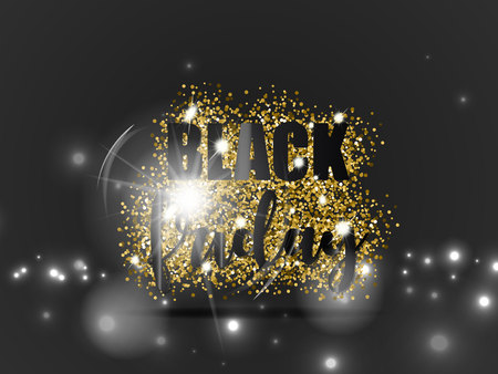 Illustration for Black friday sale with gold glitter and light effect on black background. Vector illustration. - Royalty Free Image