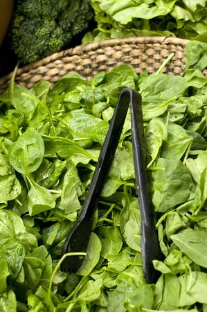Bunch of Baby Spinach in a basket