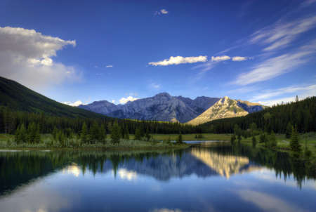 Reflections in the water at Cascade Ponds near Banff in Banff National Park Canada. These pi