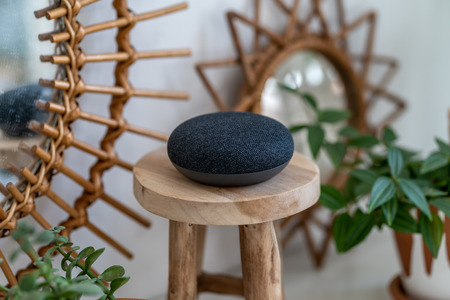Photo for VIENNA,AUSTRIA - April 4 2019: Google Home Mini on a wooden table with green plants in the background - Royalty Free Image