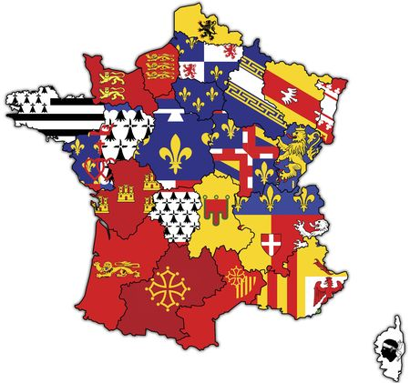 old map of france with flags of administrative divisions