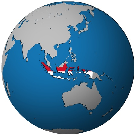indonesia territory with flag on map of globe