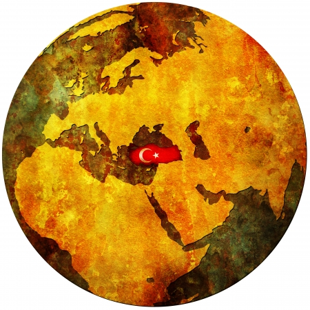 turkey territory with flag on map of globe