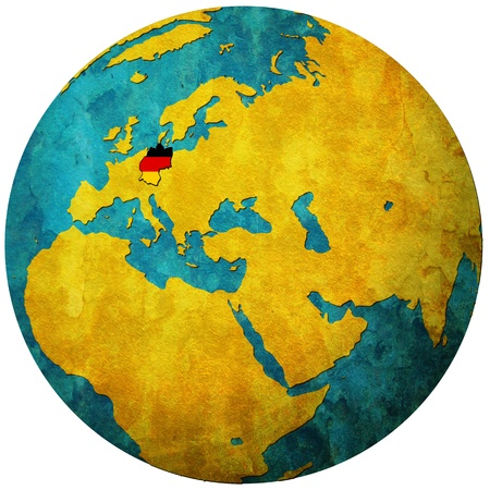 germany territory with flag on map of globe