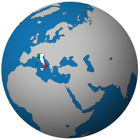 italy territory with flag on map of globe