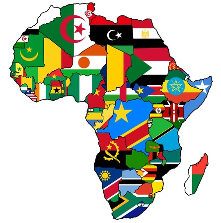 african union on actual vintage political map of africa with flags