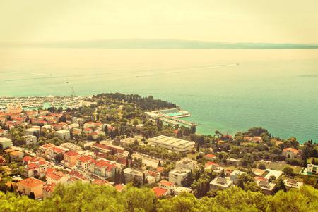 Cityscape of Split, Croatia and the Adriatic Sea - vintage version
