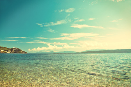 Photo of beautiful Adriatic Sea in Dalmatia, Croatia - vintage version