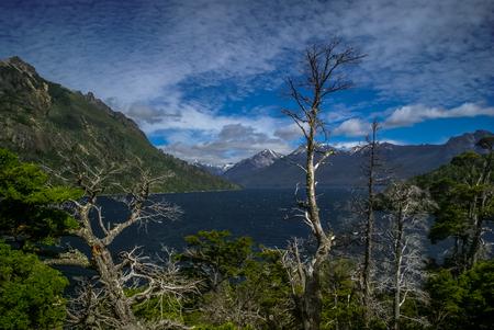 Scenic view of wild nature and sea in Bariloche, city in province of Rio Negro in Argentina.