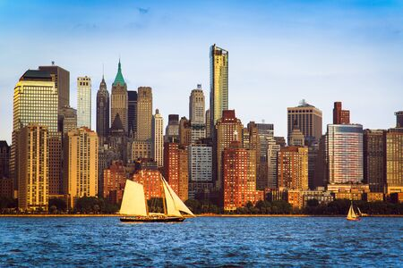 Photo for Lower Manhattan panorama and Hudson River taken from Yersey City during sunset, New York City, USA - Royalty Free Image