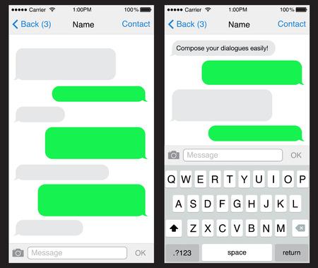 Illustration pour Smart Phone chatting sms template bubbles  - image libre de droit