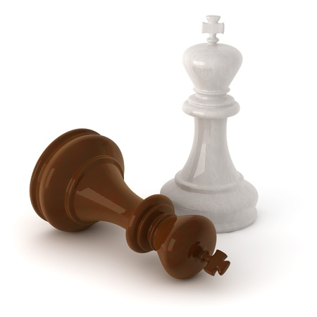 3d computer generated image of a  wooden chess king pieces isolated on white background