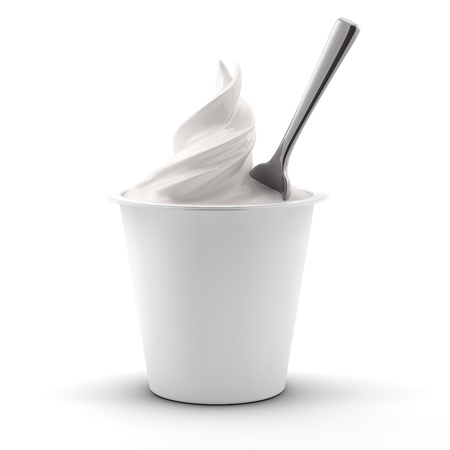 rendering if a yougurt with spoon, front view