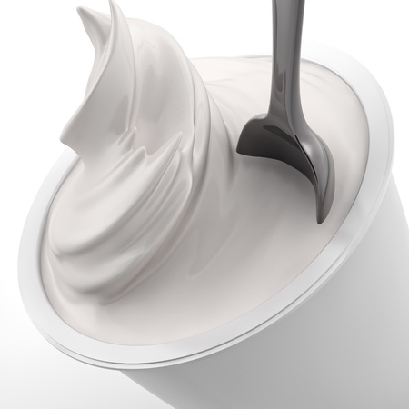rendering of a yougurt with spoon