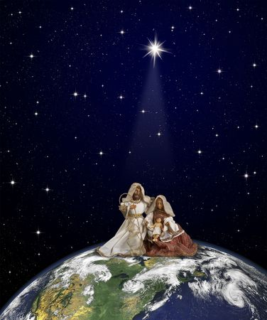 Nativity scene with Jesus, Maria and Joseph sitted at the top of globe on thespace background under the Christmas star beam.     World map courtesy of NASA.