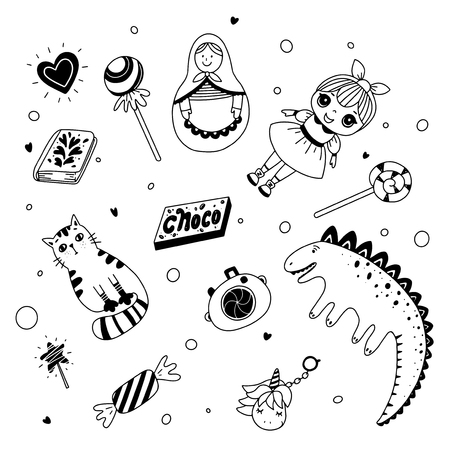 Illustration for Kid's toys and sweets. Black and white illustration for coloring book. Vector outline illustration - Royalty Free Image