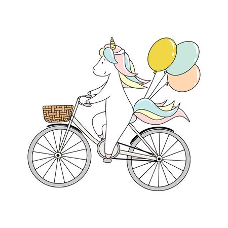 Illustration pour Cute little unicorn is riding a bicycle with balloons. Hand drawn vector illustration - image libre de droit
