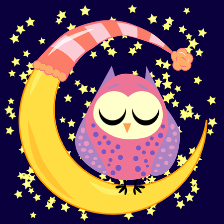 Cute cartoon sleeping owl in circles with closed eyes sits on a drowsy crescent among the starsの素材 [FY31092988994]