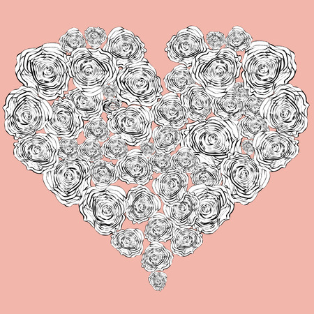 Coloring page for adults and children with heart of roses.