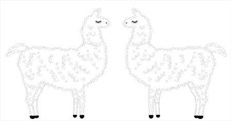 Coloring Page Of Cartoon Lama. Illustration, Coloring Book For ... | 236x450