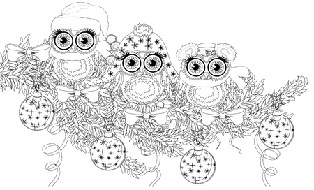 Illustration pour Coloring book page of owl and christmas tree for adult and old children. Zentangle style. - image libre de droit