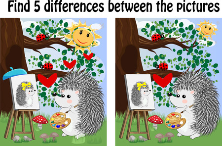 Illustration pour Find the differences between the pictures. Children's educational game. Hedgehog artist paints in the woods on the easel - image libre de droit