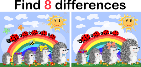 Illustration pour Find the differences between the pictures. Children's educational game. Hedgehogs on a sunny glade near the rainbow, ladybugs - image libre de droit
