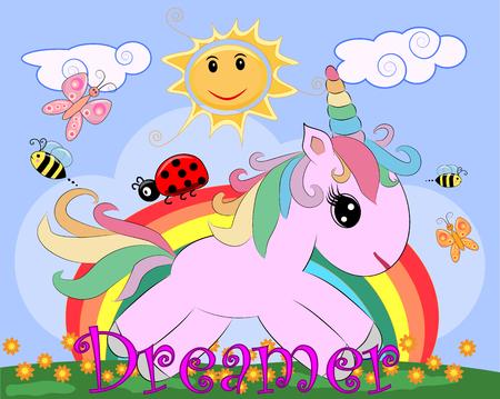 Illustration pour Pink unicorn on a meadow with flowers, rainbow, sun. Child illustration, fairy-tale character, dreamer - image libre de droit