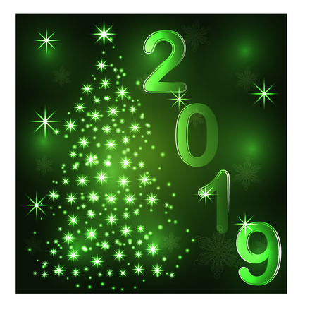 Illustration for Christmas tree. Neon lights swirl. Decoration glowing line for xmas card, banner. - Royalty Free Image
