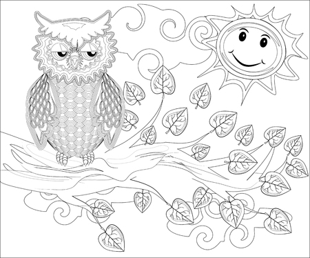 Illustration for Coloring pages. Birds. Cute owl sits on the tree. - Royalty Free Image