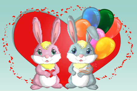 Happy valentine's day  Love card  A pair of cute bunnies girl and