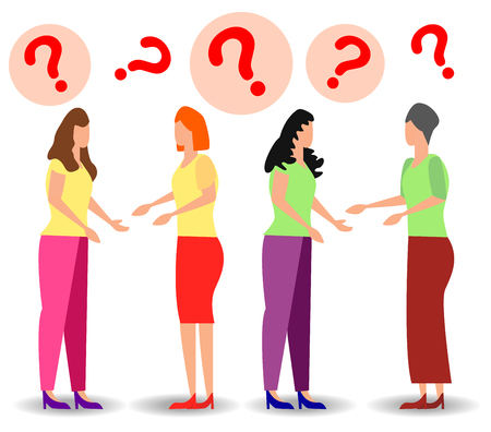 concept illustration of people frequently asked questions, waiting to be answered, around the exclamation mark, answer to the metaphor of the question